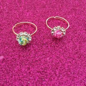 ⚠️Must Bundle⚠️Set of 2 Dainty Rose Rings